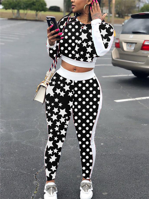 Long Sleeve Polka Dot & Star Print Two Piece Sets