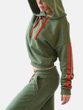 Hooded Collar Stripe Patchwork Casual Two Piece Outfits