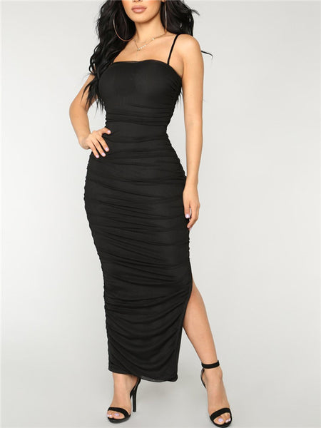 Side Slit Spaghetti Straps Ruched Maxi Dress