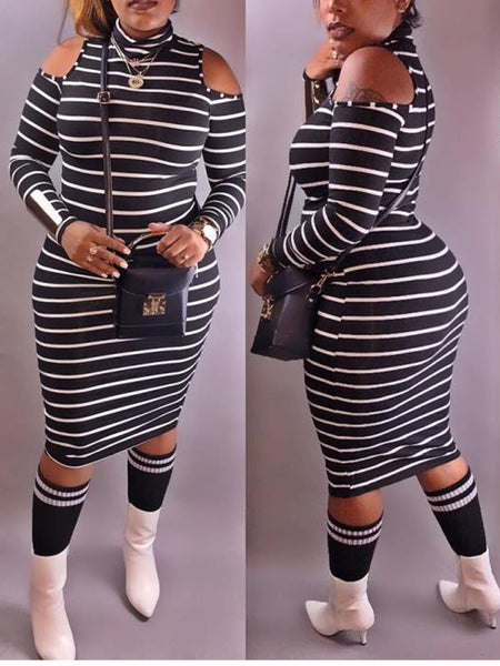 Cold Shoulder High Neck Long Sleeve Stripe Midi Dress
