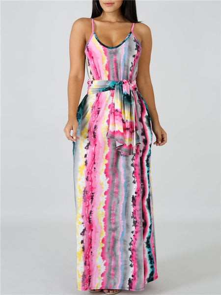 Stripe Print Spaghetti Straps Pocket Belted Maxi Dress