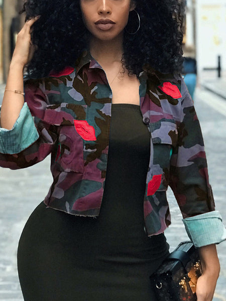 Camouflage Printed Long Sleeve Pocket Jacket