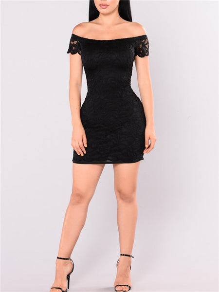 Off the Shoulder Short Sleeve Lace Mini Dress