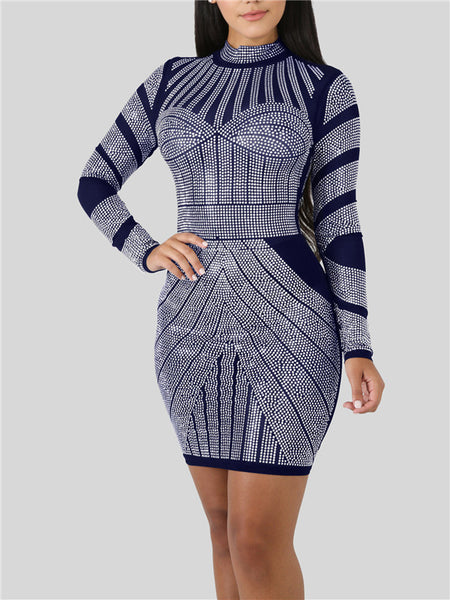 Long Sleeve Rhinestone Print Mini Dress