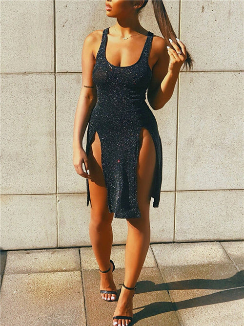 Sleeveless Open Back Slit Sexy Dress