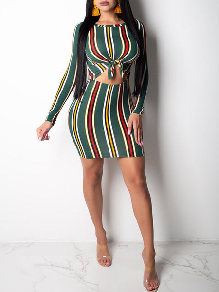 Stripe Long Sleeve Sexy Mini Dress