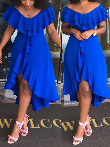 Solid Color Asymmetric Ruffled Midi Dress