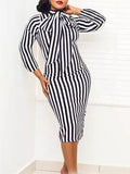 Stripe Print Long Sleeve Midi Dress With Bowknot