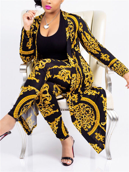 Long Sleeve Printed Casual Two Piece Outfits