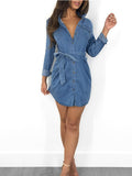 Button Up Long Sleeve Pocket Denim Mini Dress With Belt