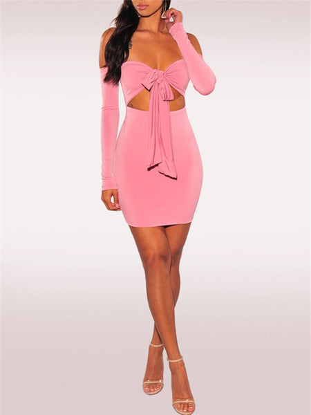 Off the Shoulder Bowknot Cutout Sexy Mini Dress