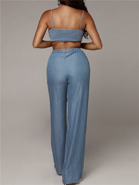 Spaghetti Straps High Waist Sexy Denim Two Piece Sets