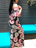 Flower Printed Off The Shoulder Ruffle Maxi Dress