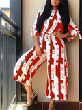 Printed Three Quarter Sleeve Wide Leg Casual Jumpsuit