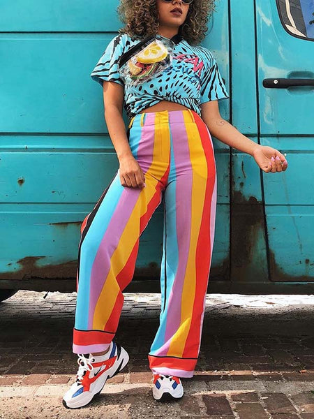 Color Block Stripe Print Casual Pants