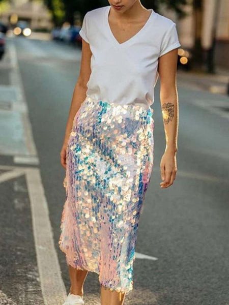 Fashion Sequins Casual Skirt