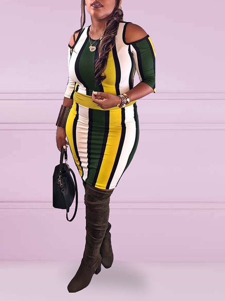Cold Shoulder Stripe Print Color Block Half Sleeve Midi Dress