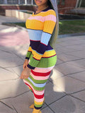 Color Block Stripe Print Long Sleeve Maxi Dress