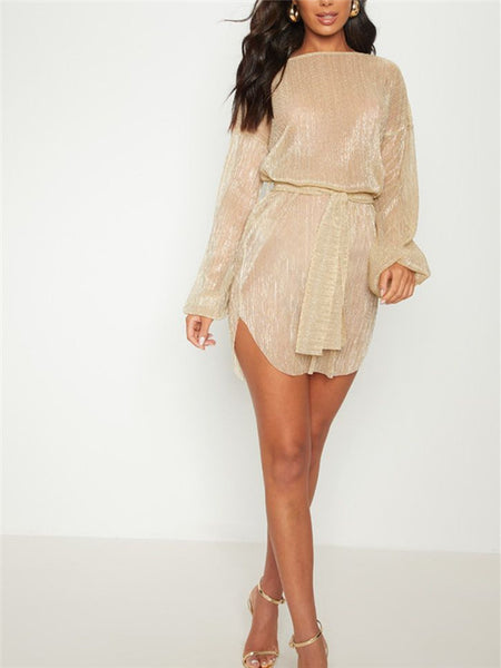 Long Sleeve Semi Sheer Curved Mini Dress With Belt