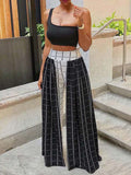Lattice Print Color Block Wide Leg Casual Pants