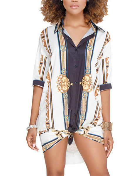 Plus Size Button Up Printed Shirt Dress