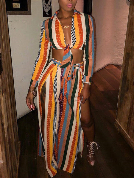 High Slit Tie Up Long Sleeve Striped Two Piece Sets