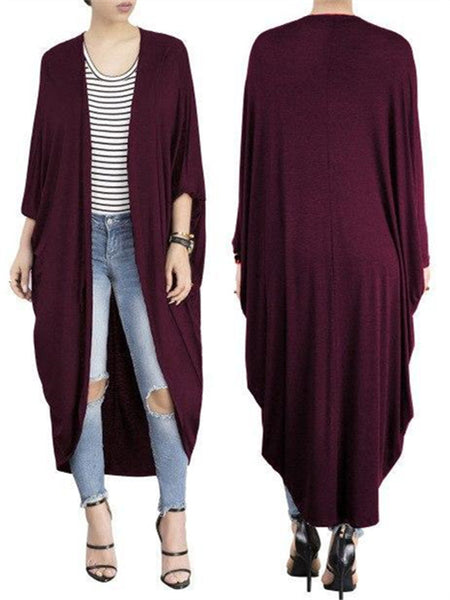 Solid Color Batwing Sleeve Open Front Cardigan