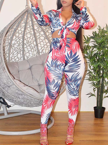 Printed Long Sleeve High Waist Two Piece Sets