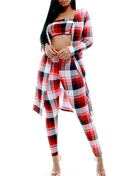 Plaid Print Long Sleeve High Waist Three Piece Sets