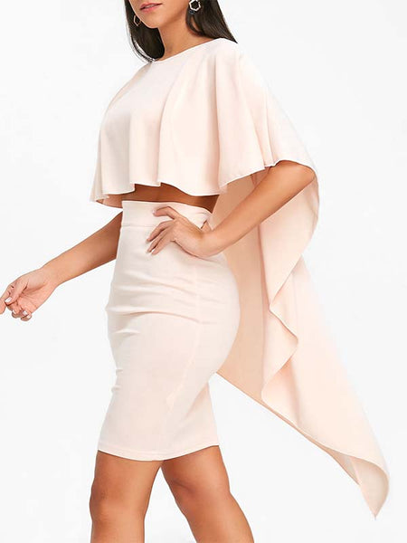 Solid Color Ruffle Casual Two Piece Sets