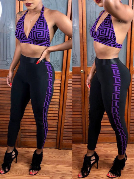 High Waist Halter Neck Printed Sexy Two Piece Sets