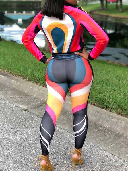 Zipper Up Long Sleeve Mixed Color Two-Piece Outfits