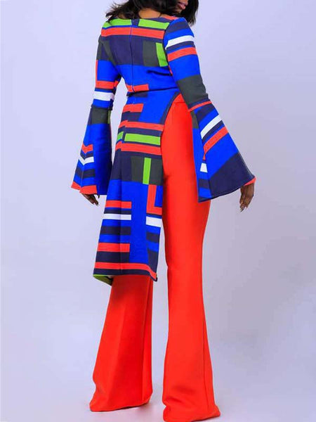 Flare Sleeve Color Block Asymmetric Top