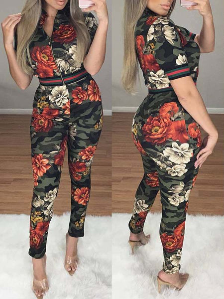 Flower Printed Short Sleeve Two-Piece Outfits