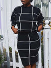 Long Sleeve Plaid Print Two Piece Dress