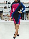 Round Neck Long Sleeve Color Block Midi Dress