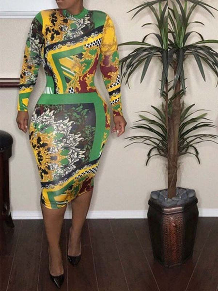 Mixed Color Printed Long Sleeve Bodycon Midi Dress
