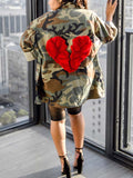Fashion Camouflage Print Button Up Long Sleeve Coat