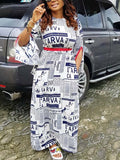 Split Sleeve Letter Print Maxi Dress With Belt