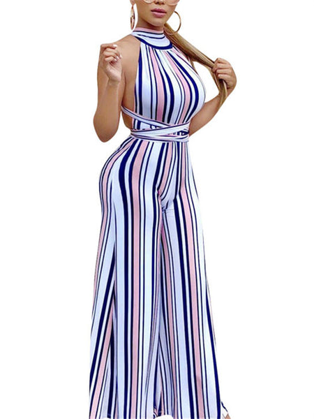 Open Back Stripe Print Sleeveless Jumpsuit