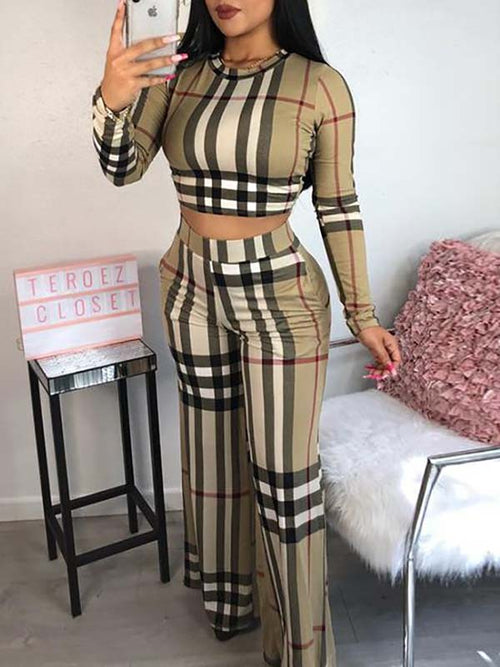 Plaid Print Long Sleeve Casual Two Piece Sets