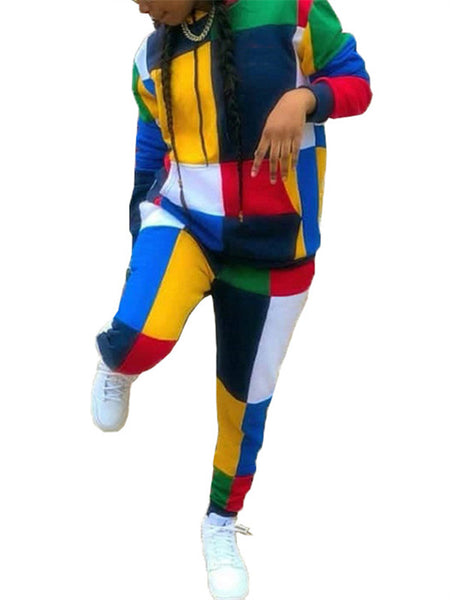 Hooded Collar Color Block Casual Two Piece Outfits