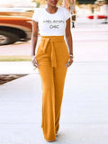 Solid Color Belted Casual Wide Leg Pants