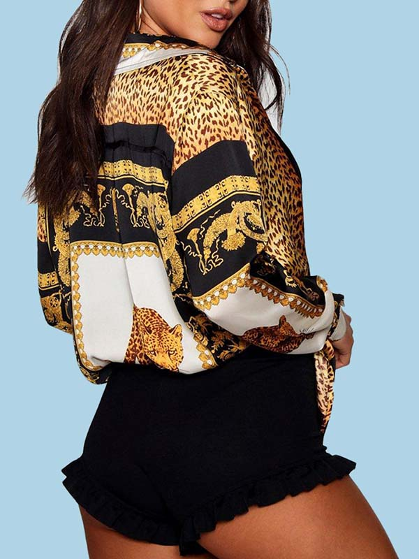 Leopard Print Long Sleeve Turndown Collar Shirt