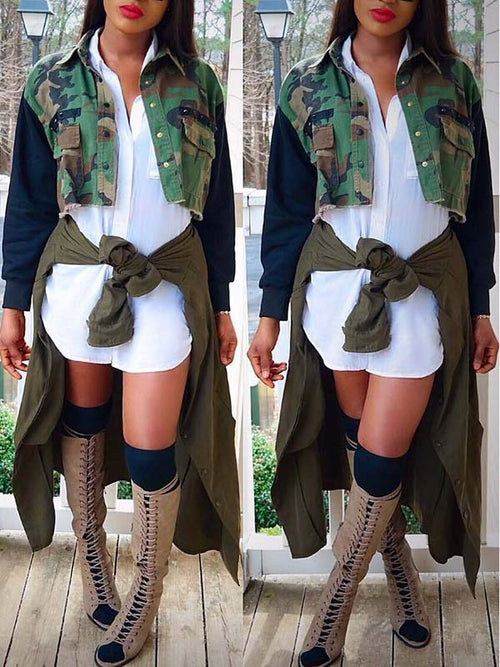 Camouflage Print Patchwork Sleeve Jacket