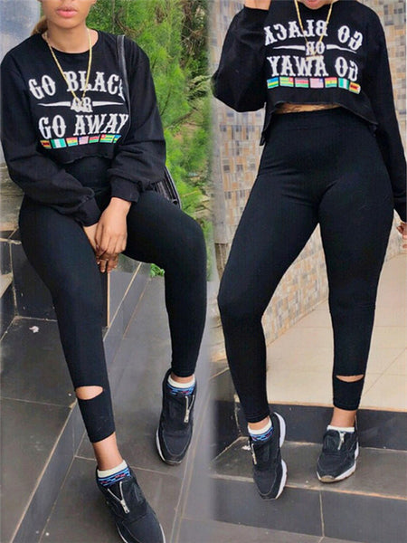 Round Neck Letter Print Long Sleeve Sweatshirt