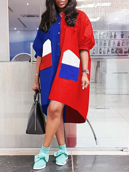 Puff Sleeve Button Up Color Block Long Coat