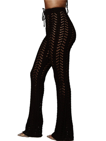 Drawstring Waist Semi Sheer Knitted Flare Pants