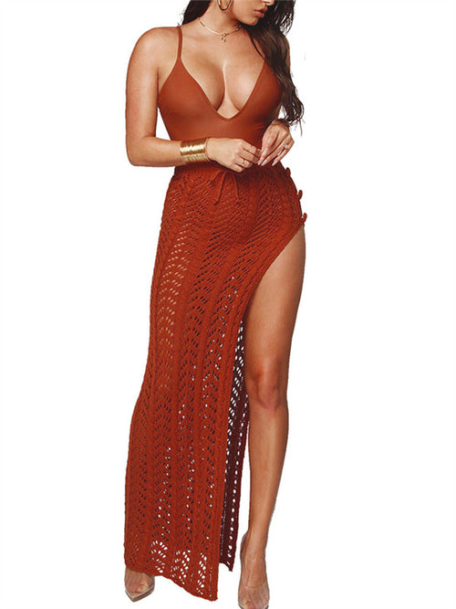 High Slit Semi Sheer Knitted Maxi Skirt