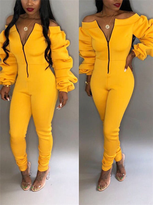 Off the Shoulder Cowl Sleeve Zip Up Jumpsuit
